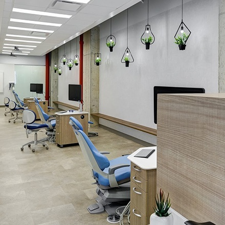 Row of orthodontic chairs